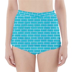 Brick1 White Marble & Turquoise Colored Pencil High Waisted Bikini Bottoms
