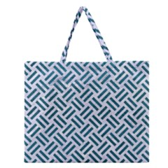 Woven2 White Marble & Teal Leather (r) Zipper Large Tote Bag
