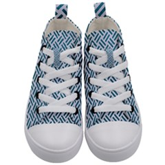 Woven2 White Marble & Teal Leather (r) Kid s Mid Top Canvas Sneakers
