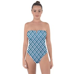 Woven2 White Marble & Teal Leather Tie Back One Piece Swimsuit