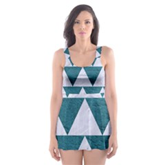 Triangle2 White Marble & Teal Leather Skater Dress Swimsuit