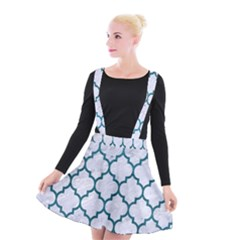Tile1 White Marble & Teal Leather (r) Suspender Skater Skirt