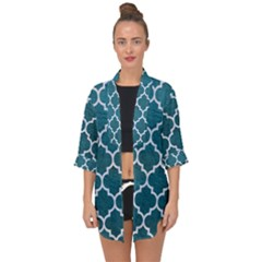 Tile1 White Marble & Teal Leather Open Front Chiffon Kimono