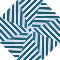 Stripes3 White Marble & Teal Leather (r) Hook Handle Umbrellas (medium)