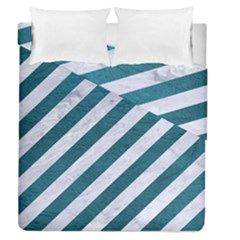 Stripes3 White Marble & Teal Leather (r) Duvet Cover Double Side (queen Size)