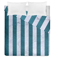 Stripes1 White Marble & Teal Leather Duvet Cover Double Side (queen Size)
