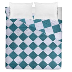 Square2 White Marble & Teal Leather Duvet Cover Double Side (queen Size)