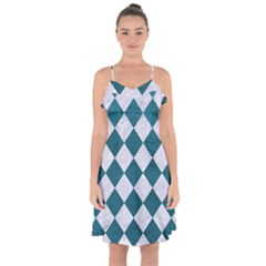 Square2 White Marble & Teal Leather Ruffle Detail Chiffon Dress