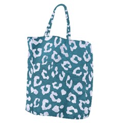 Skin5 White Marble & Teal Leather (r) Giant Grocery Zipper Tote