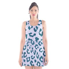 Skin5 White Marble & Teal Leather Scoop Neck Skater Dress