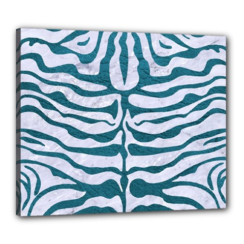 Skin2 White Marble & Teal Leather (r) Canvas 24  X 20