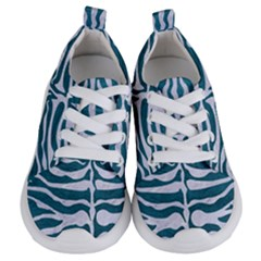 Skin2 White Marble & Teal Leather Kids  Lightweight Sports Shoes