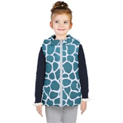 Skin1 White Marble & Teal Leather (r) Kid s Puffer Vest