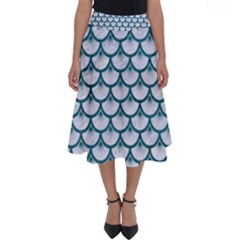 Scales3 White Marble & Teal Leather (r) Perfect Length Midi Skirt
