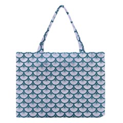 Scales3 White Marble & Teal Leather (r) Medium Tote Bag