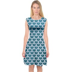 Scales3 White Marble & Teal Leather Capsleeve Midi Dress