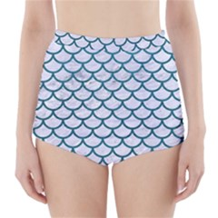 Scales1 White Marble & Teal Leather (r) High Waisted Bikini Bottoms