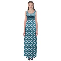 Scales1 White Marble & Teal Leather Empire Waist Maxi Dress