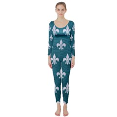 Royal1 White Marble & Teal Leather (r) Long Sleeve Catsuit
