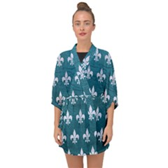 Royal1 White Marble & Teal Leather (r) Half Sleeve Chiffon Kimono