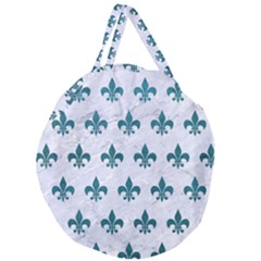 Royal1 White Marble & Teal Leather Giant Round Zipper Tote