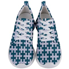 Puzzle1 White Marble & Teal Leather Men s Lightweight Sports Shoes