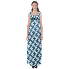 Houndstooth2 White Marble & Teal Leather Empire Waist Maxi Dress