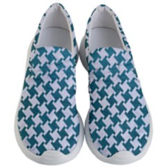 Houndstooth2 White Marble & Teal Leather Women s Lightweight Slip Ons