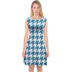Houndstooth1 White Marble & Teal Leather Capsleeve Midi Dress