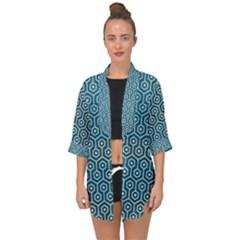 Hexagon1 White Marble & Teal Leather Open Front Chiffon Kimono