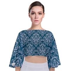 Damask1 White Marble & Teal Leather Tie Back Butterfly Sleeve Chiffon Top