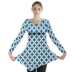 Circles3 White Marble & Teal Leather Long Sleeve Tunic