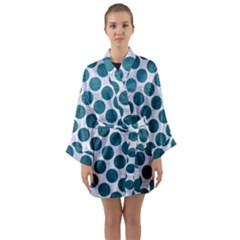 Circles2 White Marble & Teal Leather (r) Long Sleeve Kimono Robe