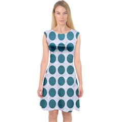 Circles1 White Marble & Teal Leather (r) Capsleeve Midi Dress