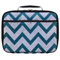 Chevron9 White Marble & Teal Leather (r) Full Print Lunch Bag