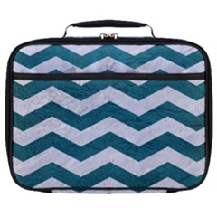 Chevron3 White Marble & Teal Leather Full Print Lunch Bag