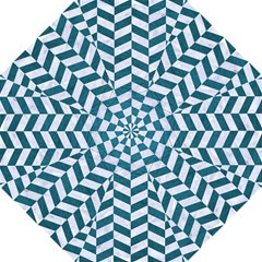 Chevron1 White Marble & Teal Leather Hook Handle Umbrellas (large)