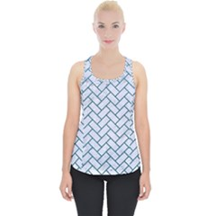 Brick2 White Marble & Teal Leather (r) Piece Up Tank Top