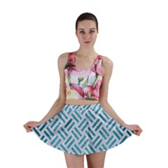 Woven2 White Marble & Teal Brushed Metal (r) Mini Skirt