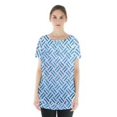 Woven2 White Marble & Teal Brushed Metal (r) Skirt Hem Sports Top