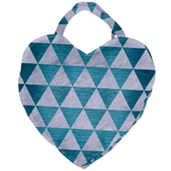 Triangle3 White Marble & Teal Brushed Metal Giant Heart Shaped Tote