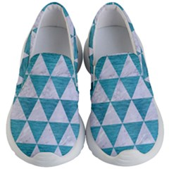 Triangle3 White Marble & Teal Brushed Metal Kid s Lightweight Slip Ons