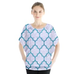 Tile1 White Marble & Teal Brushed Metal (r) Blouse