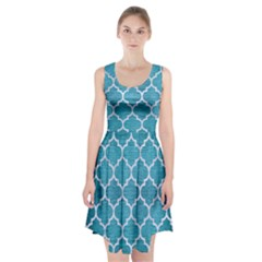 Tile1 White Marble & Teal Brushed Metal Racerback Midi Dress