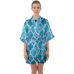 Tile1 White Marble & Teal Brushed Metal Quarter Sleeve Kimono Robe