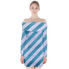 Stripes3 White Marble & Teal Brushed Metal (r) Long Sleeve Off Shoulder Dress