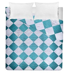Square2 White Marble & Teal Brushed Metal Duvet Cover Double Side (queen Size)