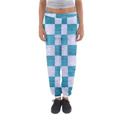 Square1 White Marble & Teal Brushed Metal Women s Jogger Sweatpants