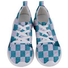 Square1 White Marble & Teal Brushed Metal Women s Lightweight Sports Shoes