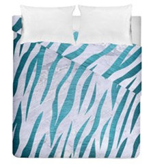 Skin3 White Marble & Teal Brushed Metal (r) Duvet Cover Double Side (queen Size)